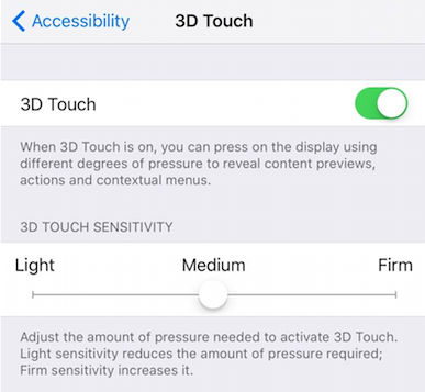 custom 3d touch on iPhone 7