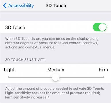 custom 3d touch on iPhone 7
