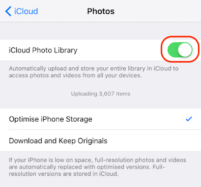 Disable and Enable iCloud Photo library