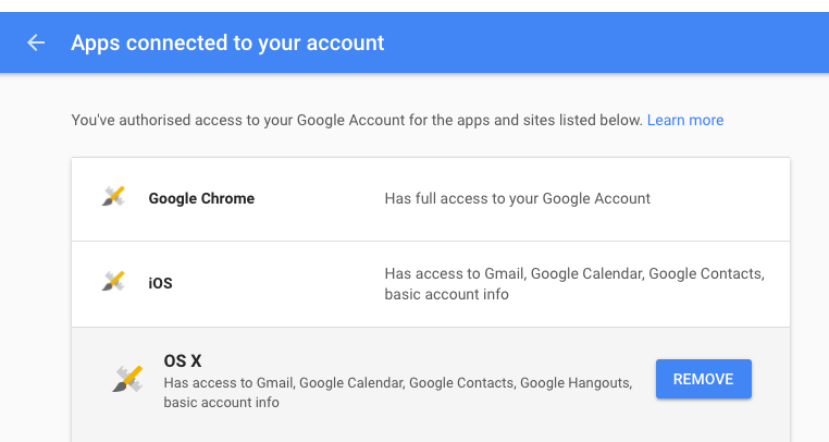 Remove Mac from your Google account