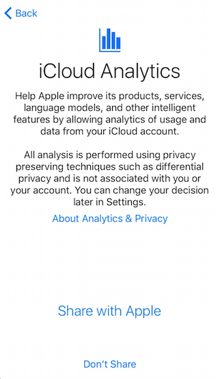 iCloud Analytics - iOS 10.3