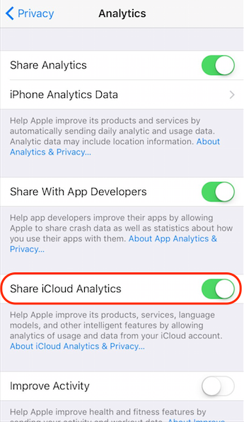 Turn off iCloud Analytics in iOS 10.3