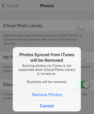 Turn on iCloud Photo Library on iPhone 7