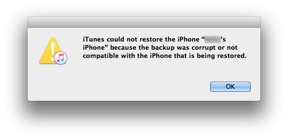 iTunes could not restore the iPhone because the backup was corrupt or not compatible