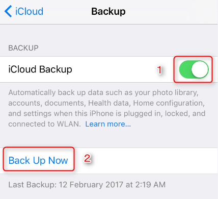Backup iPhone 7 to iCloud
