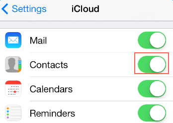Contacts app is on under iCloud