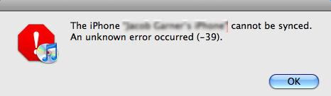 iTunes error -39